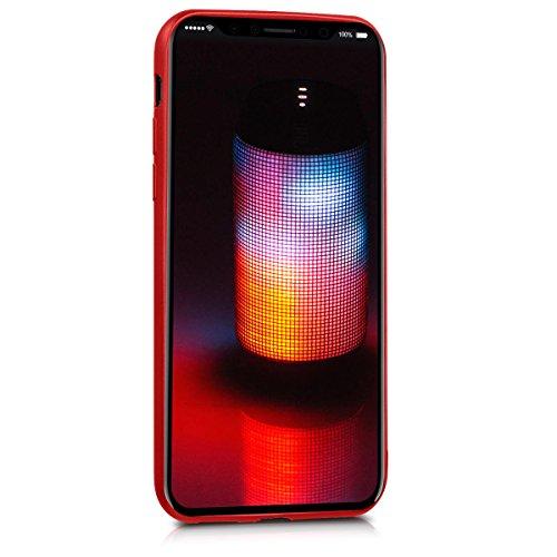 kwmobile Cover per Apple iPhone X - Custodia in silicone TPU - Back case protezione posteriore per cellulare rosso scuro metallizzato .rosso scuro metallizzato