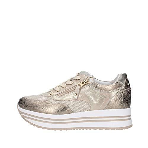 Nero Giardini P907751D/414 Sneakers Scarpe Donna Lacci Stringhe Zip para Oro (36 EU)