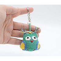 Llavero búho, accesorios del bolso, regalo verde en miniatura