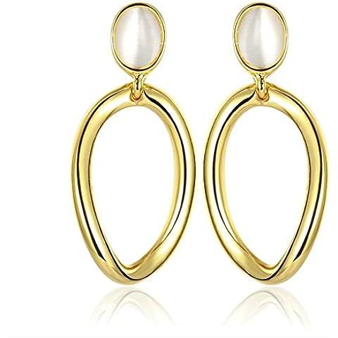 Alimab Gioielli Placcato in oro donne Goccia ovale uovo Shap opale orecchini in oro