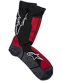 Alpinestars hombres de tripulación calcetines, hombre, color negro y rojo, tamaño large