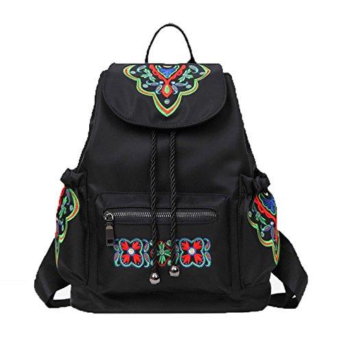 Amoyie Canvas Rucksack Damen Backpack Schultasche Daypack Moderne Tasche für Mädchen und Damen Reisetasche mit Blumenmuster, Schwarz Canvas, Schwarz