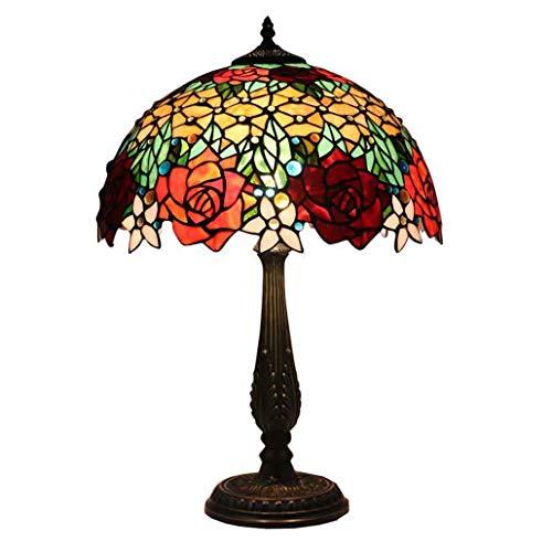 16-Zoll-Tiffany-Stil Tischlampe Rose Design Farbe Glas Schreibtisch Licht Schlafzimmer Nachtlicht Salon Art Tischleuchte, E27, Max60W * 2, BOSS LV, Online-Switch-Round-Sitz