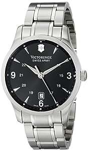Victorinox Men's 40mm Steel Bracelet & Case Anti Reflective Sapphire Swiss Quartz Black Dial Watch 241473