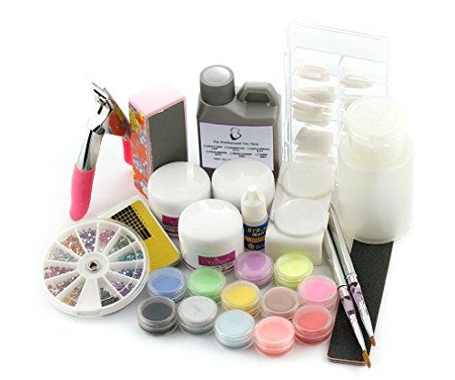 Kit 16 EN 1 Acrylique Poudre manucure extension ongle resine + Brosse strass Accessoire Décor Nail Art Set Kit Manucure Débutant
