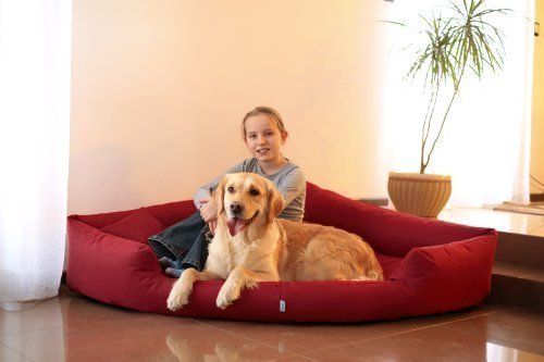 Artikelbild: TR5-04 Hundebett TRIVIA Eckbett Eckhundebett Hundesofa Hundebett Gr. XL 120cm Bordeaux
