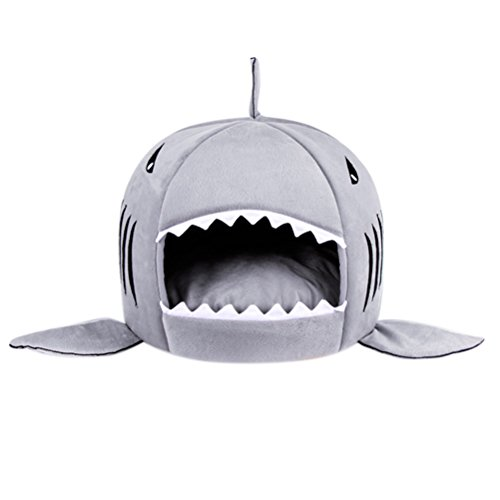 Aosbos Aosbos Dog Cat Beds Shark Round Shape House with Removable Cushion Pet Beds for Dogs Puppy Kittens (Small, Grey)