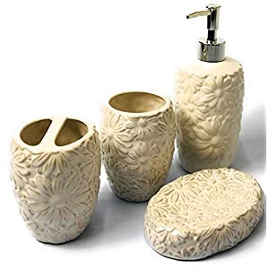 Sanitary Wares – Juego de accesorios de baño de cerámica para ventana de 4 piezas, dispensador de jabón/soporte para…
