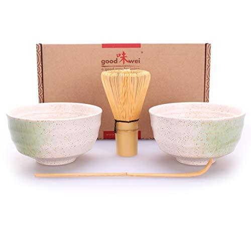 Goodwei Juego de Té Matcha para dos – Bol de té y batidor incl. Caja de regalo (blanco)