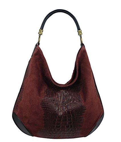 Damen Leder Tasche Henkeltasche Schultertasche mit Kroko Schlangen oder Blumen Prägung Rot-Kroko