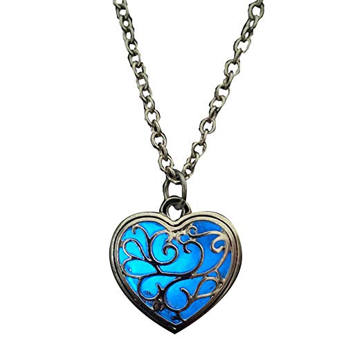 PinzhiIm Dunkeln leuchtende herzförmige Herz Halskette Anhänger Leder Kette Frauen Männer Schmuck (blau)