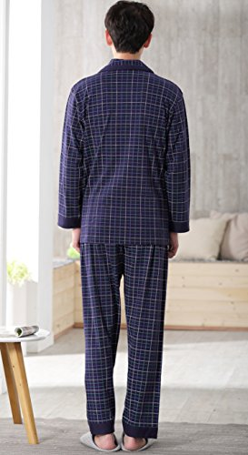 Amhillras Herren Schlafanzug lang Baumwolle Nachtwäsche langärmelig Pyjama V Ausschnitt homewear Anzug mit Taschen Knopfleiste Blau Streifen