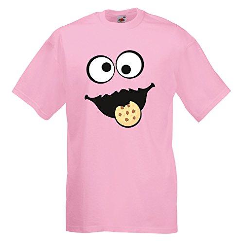 Monster Pink Kostüm Cookie - Keks Monster Unisex T-Shirt Gruppen Kostüm Karneval Fasching Verkleidung Party JGA Light Pink 5XL