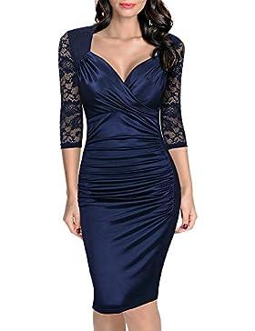 b0c3f3e2b3c7 Donna Vintage Vestito Pizzo Elegante Anni 50 Abito Slim Vestiti Da Sera