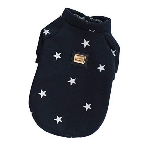 Homyl Sterne Muster Hundemantel Hundejacke Hundepullover Sweatshirt Winter Warme Hundekleidung - Dunkelblau, L