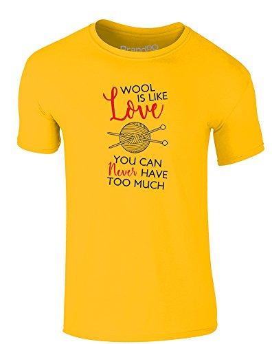 Brand88 - You Can Never Have Too Much Wool, Erwachsene Gedrucktes T-Shirt Gänseblümchen-Gelb/Schwarz