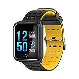 Unisex Smart Watch Mit Farbe OLED Touchscreen 1.3Inch HD LED Display Bluetooth Wasserdicht IP68 Unterstützung Schwimmen Erinnerung APP Wearhealth Tragbare Geräte Für Android/IOS Phone,Yellow