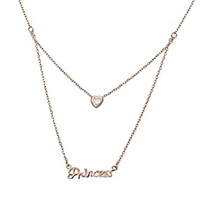 Aaishwarya Princess Love Bling Layered Pendant Necklace/Chain for Women & Girls