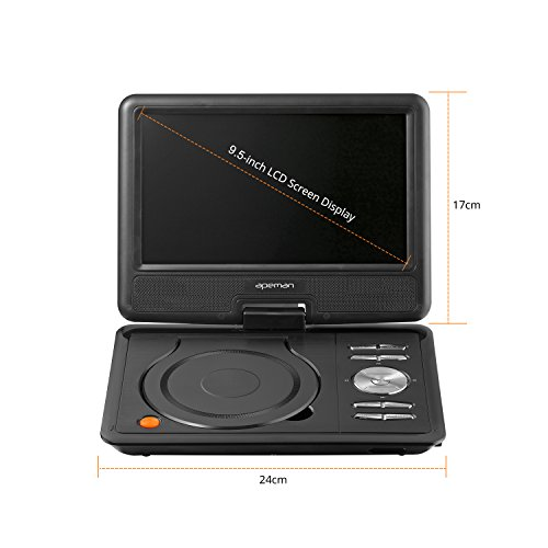 """APEMAN 9.5"""" Portable DVD Player with Swivel Screen Built-in Rechargeable Battery SD Card and USB Supported Direct Play in Formats AVI/RMVB/MP3/JPEG (Black)"""