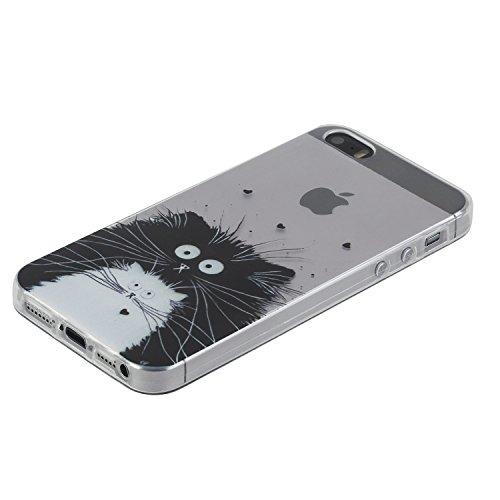 Pour iPhone SE caoutchouc cas coque,iPhone 5 housse ,Herzzer transparente Case housse for iPhone 5S,[Fleur de pêche Modèle] Résistant aux rayures Ultra mince Doux TPU Gel Silicone transparente Clair C Chat Noir et Blanc