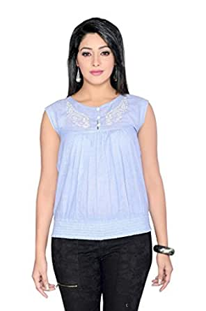 THINC MILY EMBROIDERED BLUE COTTON TOP WITH STYLISH FRONT BUTTON