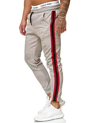 OneRedox Herren | Jogginghose | Trainingshose | Sport Fitness | Gym | Training | Slim Fit | Sweatpants Streifen | Jogging-Hose | Stripe Pants | Modell 1226 Grau Rot XXL