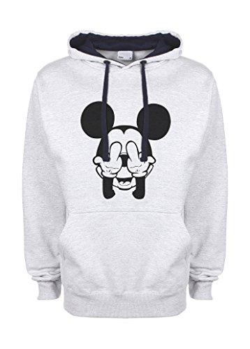 Mickey Mouse Swag Trippy Disney Dope Fuck gris / azul muy oscuro Qualità Superiore Sudadera con Capucha Unisex Small