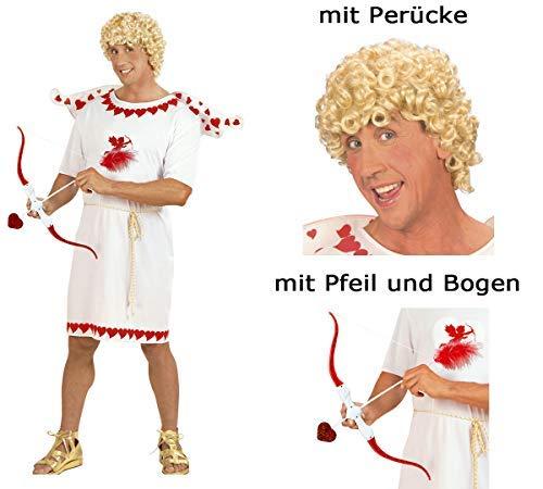 Scherzwelt Kostümset Cupid - Amor Gr. S bis XL - Glücksbote Amorkostüm Set mit Perücke + Pfeil (Cupid Kostüm Männer)