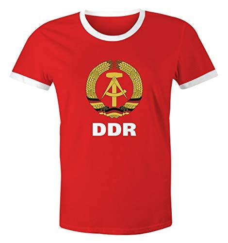 MoonWorks Herren WM-Shirt DDR Fan Nostalgie Retro rot-weiß L