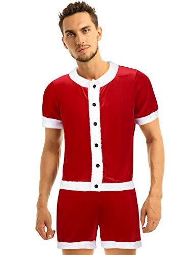 inhzoy Männer Weihnachtskostüm Kurzarm T-Shirt mit weichem Samt Shorts Set Cosplay Kostüm Party Outfit Rot XXL