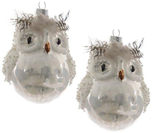 """2x Weihnachtsanhänger """"Eule mit Federn und Perlen"""" weiß - 10 cm - Glaskugel - Weihnachtsschmuck"""