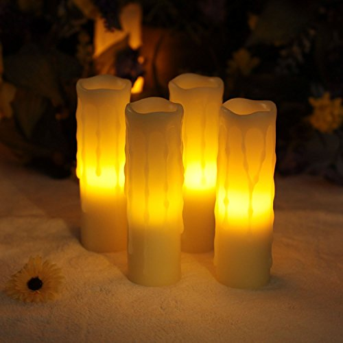 Velas LED, Orar, velas, velas, con mando a distancia y temporizador, Derrita goteo de forma de velas, funciona con batería, Marfil, 2 x 6 pulgadas (5,1 x 15,2 cm), cera para decoración de casa & iluminación