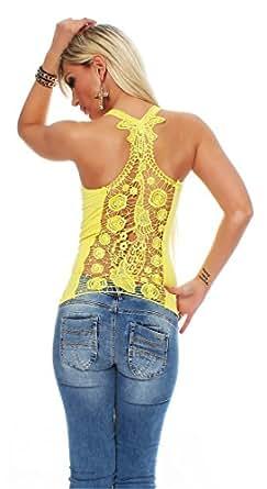 10468 Fashion4Young Damen Tank-Top in Ripp-Optik Spitze Häkelspitze-Top Shirt verfügbar in 9 Farben 2 Größen (L/XL 38/40, Gelb)