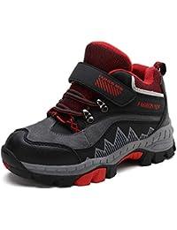 H-Mastery Botas Trekking Niña Niños Impermeables Zapatillas de Montaña Senderismo Velcro Zapatos Nieve Invierno Piel Forradas Calientes