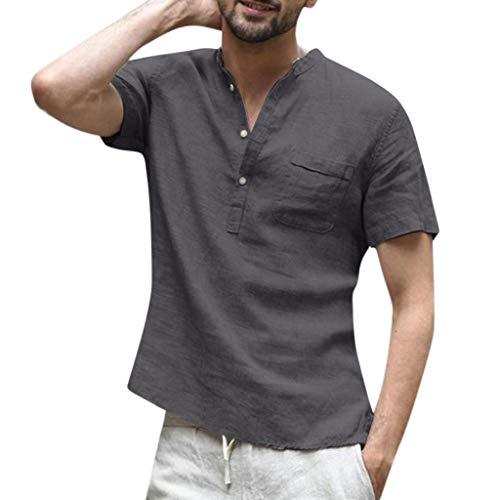 Shirt Herren, Herren Baggy Baumwolle Leinen Volltonfarbe Kurzarm Retro T Shirts Tops Bluse - Of Monster Duty Energy Call