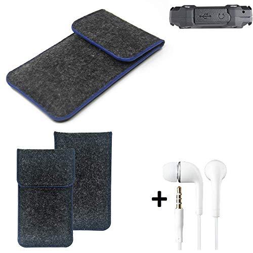 K-S-Trade® Filz Schutz Hülle Für -simvalley Mobile SPT-210- Schutzhülle Filztasche Pouch Tasche Handyhülle Filzhülle Dunkelgrau, Blauer Rand Rand + Kopfhörer