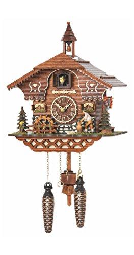 Trenkle orologio a cucù al quarzo casa del taglia legno con taglialegna in movimento e la ruota del mulino si gira, con musica tu 4217 qm