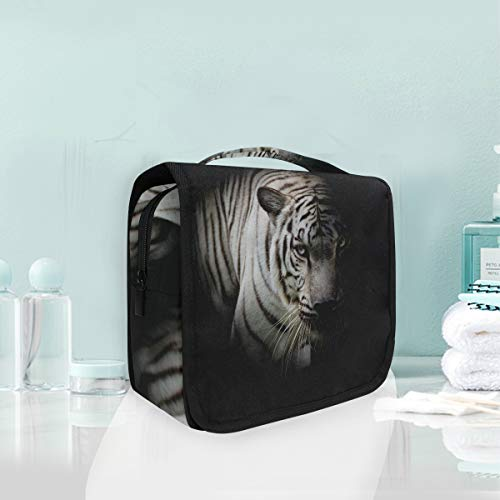 Make-up Kosmetiktasche Night White Tiger Tier Portable Storage Reise Kulturbeutel (Halloween-make-up Tiger White)