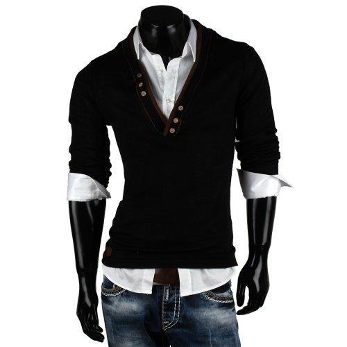 Emimay Herren Pullover Grobstrick Pulli SweaT-shirt maglione felpa Nero