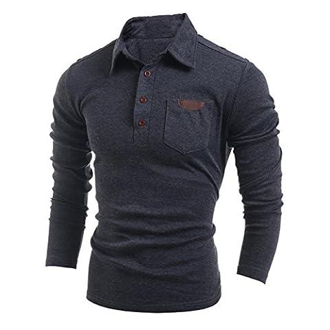 MQ Men's Polo Shirt Long Sleeve Occasion Formal Lapel T-shirt Tee Tops