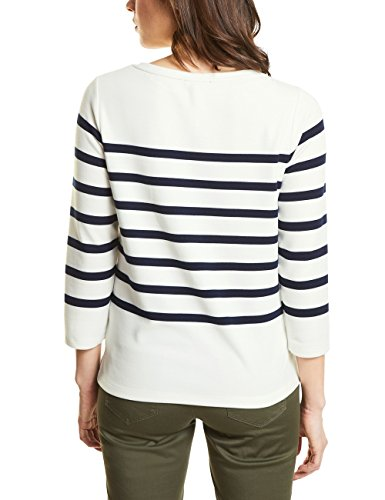 Street One T-Shirt Manches Longues Femme Mehrfarbig (Off White 20108)