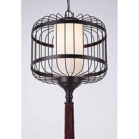 KHSKX Lampadari di cinese-stile ferro battuto birdcage, lampada vintage hotel hall ristorante tè casa progetto pergamena
