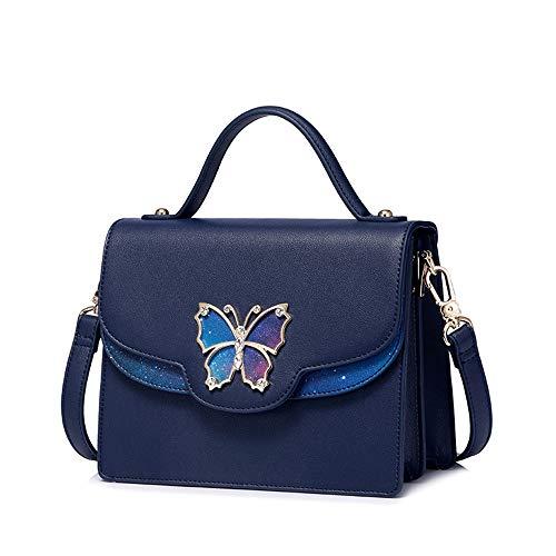 RFVBNM Tasche weibliche Herbst-und Wintermode-koreanische Version der Wilden Messenger-Taschen-Beluttüte kleine quadratische Tasche Schmetterling Druck, blau -