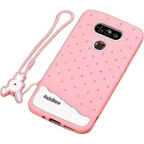 Funda de Silicona para LG G5 - Aohro Flexible Silicona Protección Carcasa /Skin /Cover /Case con Rabitoo Lanyard - Rosa