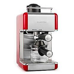 Klarstein Sagrada Rossa • Espressomaschine • Kaffeemaschine • 800 Watt • 3,5 Bar Druckaufbau • Milchaufschäumer • inklusive Glaskanne • 4 Tassen • Cool-Touch Griff und Deckel • Tassenablage • automatischer Druckablass • abnehmbarer Düsenaufsatz • rot