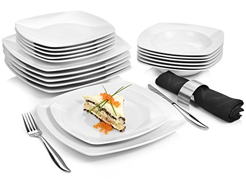 Sänger Tafelservice 'Markant' 18 teilig aus Porzellan | Geschirrset beinhaltet Speise-, Suppen- und Dessertteller | Elegantes Geschirrservice für bis zu 6 Personen