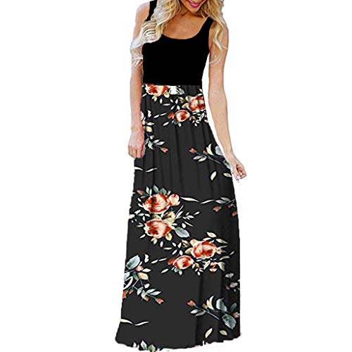 MORETIME Sommerkleid Damen Kleider Lang Sommer Bunt Rundhalsausschnitt Besticktes RüSchenkleid Damenkleidung Viskose Hauskleid Baumwolle...