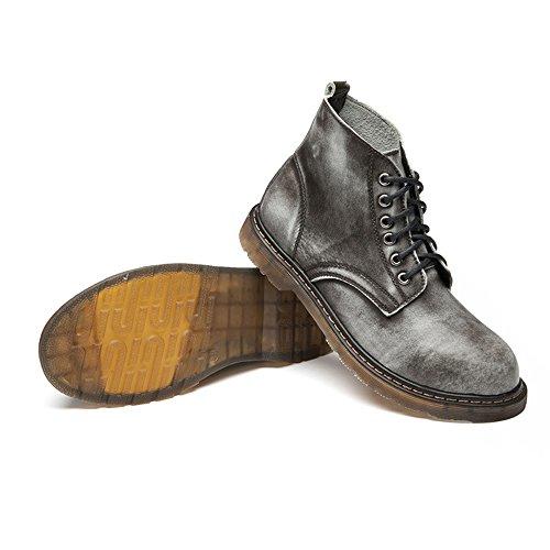 Best Choise Hommes Chaussures Classique En Cuir À Lacets Richelieus Haut Haut de la Cheville Bottes pour les Messieurs Bottillons d'extérieur ( Color : Black , Size : 46 EU ) Gray