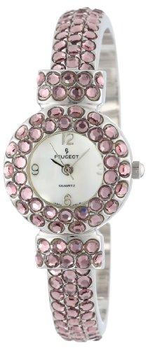 Peugeot Women's 326PK Silver-Tone Full Pink Crystal Glitz Cuff Watch