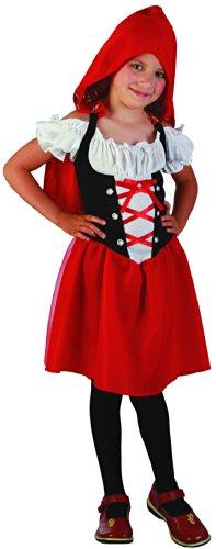 Generique - Rotkäppchen Kostüm für Mädchen schwarz-Weiss-rot 110/116 (4-6 ()